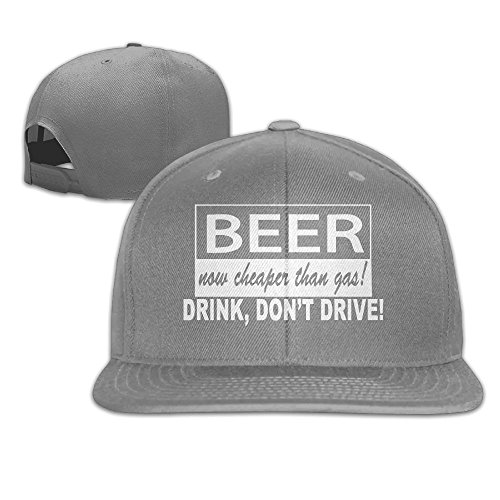 WilliamKL Beer Now Cheaper Than Gas Drink Don't Drive Flat Bill Snapback Adjustable Hiphop Hat - Shopping Orlando Airport