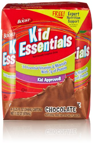 Boost Kid Essentials Nutritionally Complete Drink, Chocolate, (4 Count, 8.25 Fluid Ounce Each)