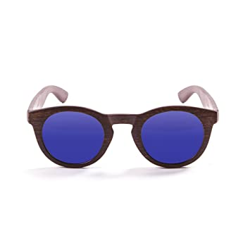 Ocean Sunglasses San Francisco Lunettes de soleil Bamboo Brown Frame/Wood Dark Arms/Revo Blue Lens i3OzixP