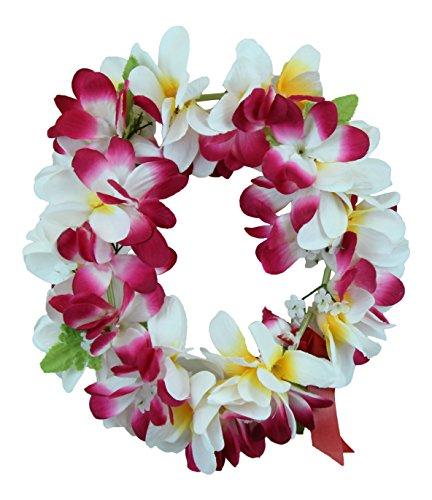 Hawaii Luau Party Artificial Fabric Plumeria Haku Head Band Pink White
