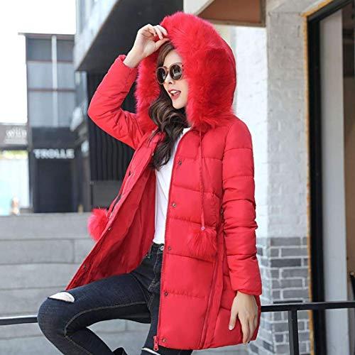 Invierno Encapuchado Acolchada Rot Chaqueta Manga Espesar Plumas Sintética Pluma Elegantes Piel Estilo Larga Unicolor Especial Mujer Moda Outdoor Outerwear ZIwqAg