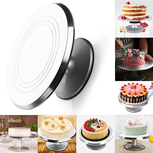 Katoot@ Revolving Aluminium Alloy Cake Turntable 12'' Stand Silver Non-Slip Holder Wedding Cake Baking Decorating Tools Bakeware by Katoot
