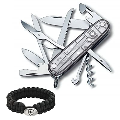 Victorinox Swiss Army Knife Tech Huntsman, Silver Translucent with Victorinox Paracord Bracelet