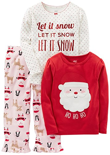 Simple Joys by Carter's Girls' Toddler 3-Piece Santa Pajamas, Pink/Red Santa, (Kids Clothes For Christmas)