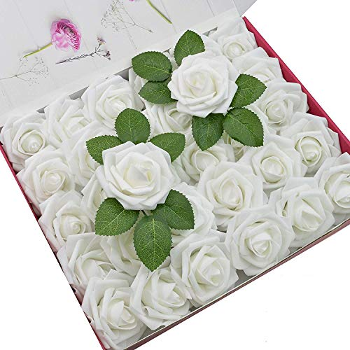 DerBlue 60pcs Artificial Roses Flowers Real Looking Fake Roses Artificial Foam Roses Decoration DIY for Wedding Bouquets,Arrangements Party Baby Shower Home Decorations-with Green Leaves(White)