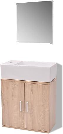 vidaXL Set Completo de Mobiliario de Baño con Lavabo Pack de 3 ...