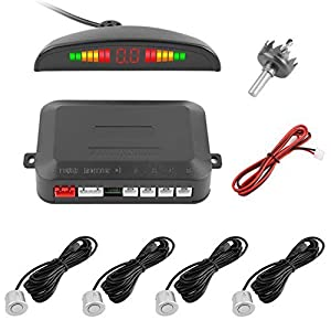 Reversing Sensor, YOKKAO LED Display Auto Rear Reverse Alert System Car Parking Sensor Backup Kit with 4 Sensors (Silver)