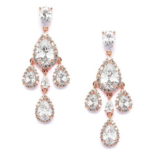 Mariell 14k Rose Gold CZ Clip-On Wedding Prom Bridal Chandelier Earrings - Pear-Shaped Teardrop Dangles