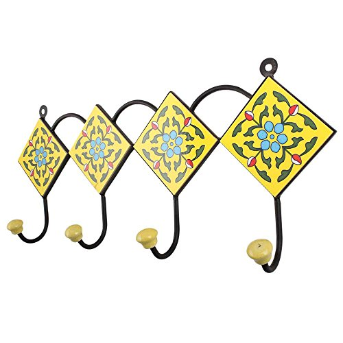 Indianshelf Handmade Artistic Heavy Duty Ceramic Yellow Turquoise Floral Tiles Wall Mounted Rail Hooks Coat Hanger Racks Hats Holder with Screws - Turquoise Wall Tile