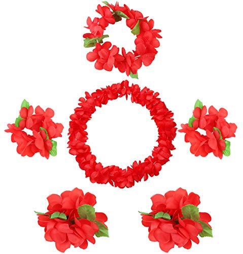(Udalyn Hawaiian Luau Flower Leis Jumbo Necklaces Bracelets Headband Anklets Set 6-7 Pack)