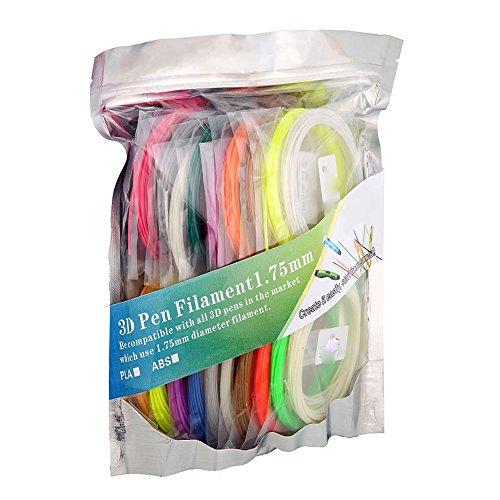 3D pen ,3D Pen Filament Refills - 1.75mm 330 Linear Feet (16.5 foot each) Total 20 Different colors PLA fun pack(16 Colors+4 Glow in Dark Colors)