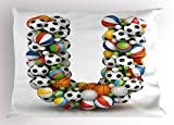 Ambesonne Letter U Pillow Sham, Fun Games Inventory Equipment and Letter U Combination Teamplay Colorful ABC Type, Decorative Standard Queen Size Printed Pillowcase, 30 X 20 inches, Multicolor