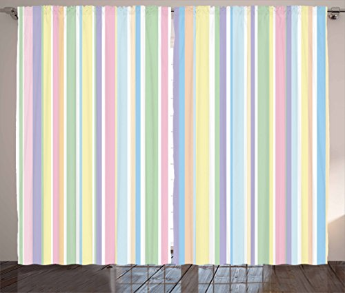 "Ambesonne Pastel Curtains, Vertically Striped Pattern Different Colored Straight Lines Classical Old Fashioned, Living Room Bedroom Window Drapes 2 Panel Set, 108"" X 63"", Pastel Colors"