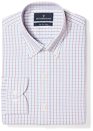 Fit Tattersall Cotton - BUTTONED DOWN Men's Slim Fit Button Collar Pattern Non-Iron Dress Shirt, White/Red/Blue Tattersall Overcheck, 15.5