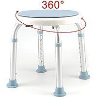 JUEYAN 150KG Badhocker für Dusche Duschhocker Höhenverstellbar Duschsitz Weiß Duschhilfe mit Sicherheitsgriff Anti-Rutsch 360° Drehbar