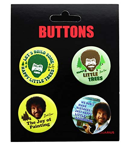 NMR Bob Ross Carded Button 4-Pack - Various Quotes (Assortment Carded)