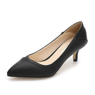 65b7fecd5dcd0 Renly Womens Classic PU Leather Slip On Work Shoes Dress Pumps ...