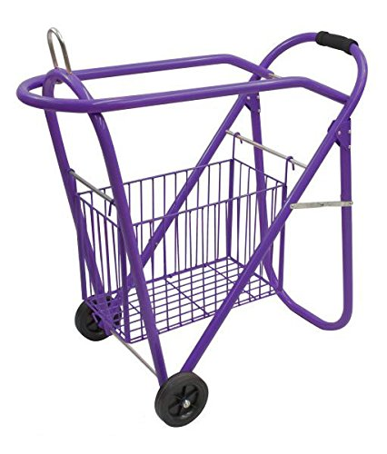 Rolling Saddle Cart - Western Or English Purple Saddle Rack And Tack Basket
