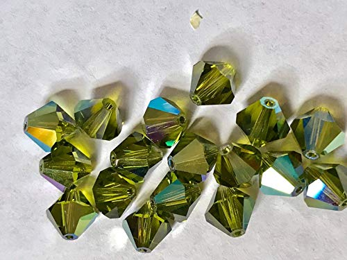 (Huge Selection of Beading Accessories - 12 Vintage Crystals - Discontinued Art 5301-8 mm - Olivine AB)