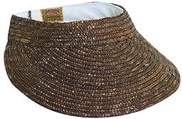 Dorfman Straw Braid Large Brim Sun Visor Hat in Chocolate