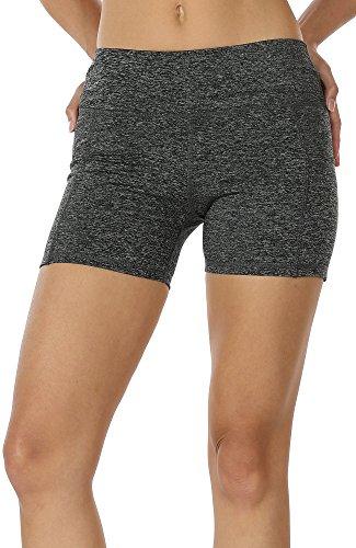 icyzone Workout Running Shorts Women - Yoga Exercise Lounge Athletic Activewear Compression Shorts Pockets & Drawstring