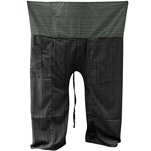 - Two Tone Yoga Pants Trousers Thai Fisherman Pants Free Size Cotton Drill Stripes Dark Grey/black
