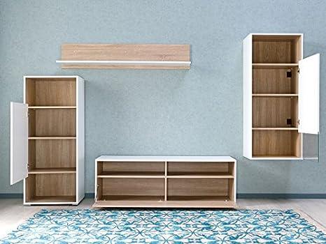 CSSchmal Salón Pared Color Blanco/Roble Muebles Salón Salón Pared salón Armario Estantería Fabricado en Alemania.: Amazon.es: Juguetes y juegos