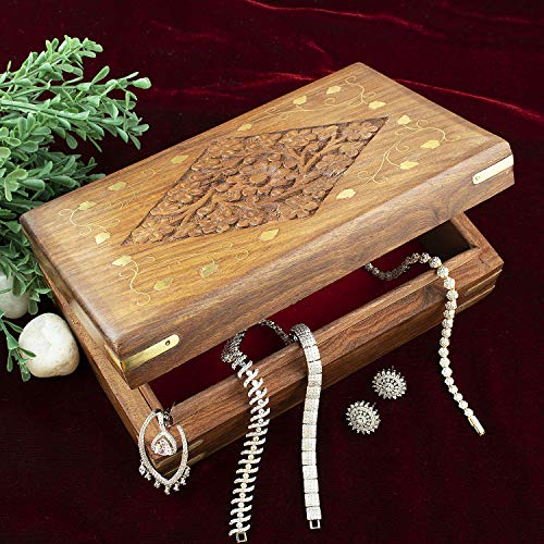 Aheli Wooden Jewelry Keepsake Trinket Box Multipurpose Storage Organizer with Intricate Floral Carvings Brass Inlay Home Decorative (Vintage Flower Centrepieces)