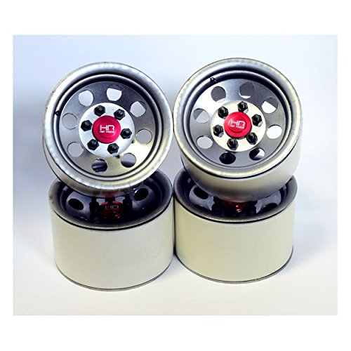 Hot Racing BLW22H18 Raw Steel 2.2 Beadlock 6-Lug 8-Hole Wheels 12mm Hex (4)