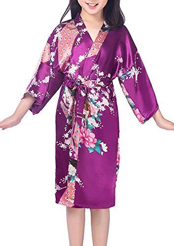Admireme Girls Peacock Satin Kimono Robe Bathrobe Nightgown for Spa Party Wedding Birthday