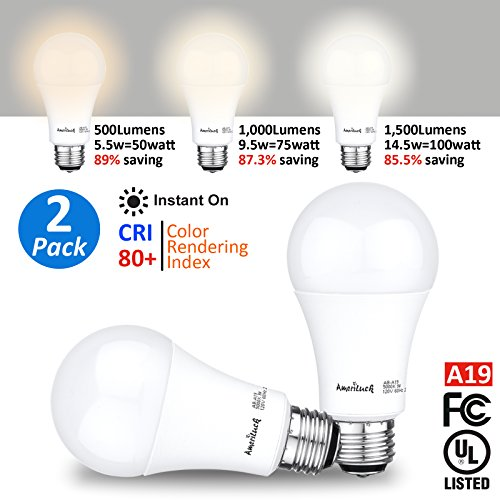 AmeriLuck 3-Way LED Light Bulbs 500/1000/1500Lumens 40/60/100W Equivalent 2700K/Soft Warm White CRI 80+, 5.5/9.0/14.5W Omni-Directional A19 Low-Medium-High (Soft White/2700K, 2 Pack)