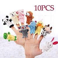 airrais 10 pcs/Set Cute Finger Puppet Animal Plush Toys Finger Toy Plush Figures