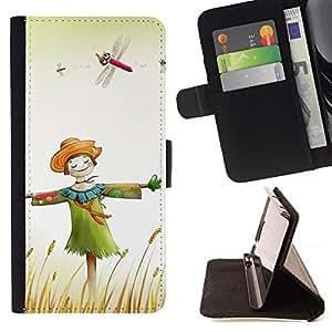 For Samsung Galaxy S6 EDGE (NOT S6) Plus / S6 Edge+ G928 Case , Diseño feliz del espantapájaros- la tarjeta de Crédito Slots PU Funda de cuero Monedero caso cubierta de piel