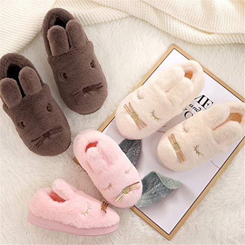 La D'hiver Peluche À Animal Beige Fille Chaussures Slip Pantoufles LRj5A4