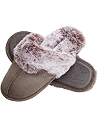 Faux Fur Slip On Womens House Slipper with Memory Foam