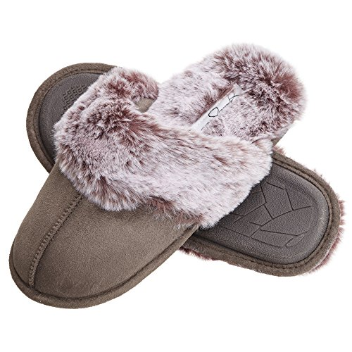 Jessica Simpson Comfy Faux Fur Womens House Slipper Scuff Memory Foam Slip On Anti-Skid Sole (Size Small, Grey)