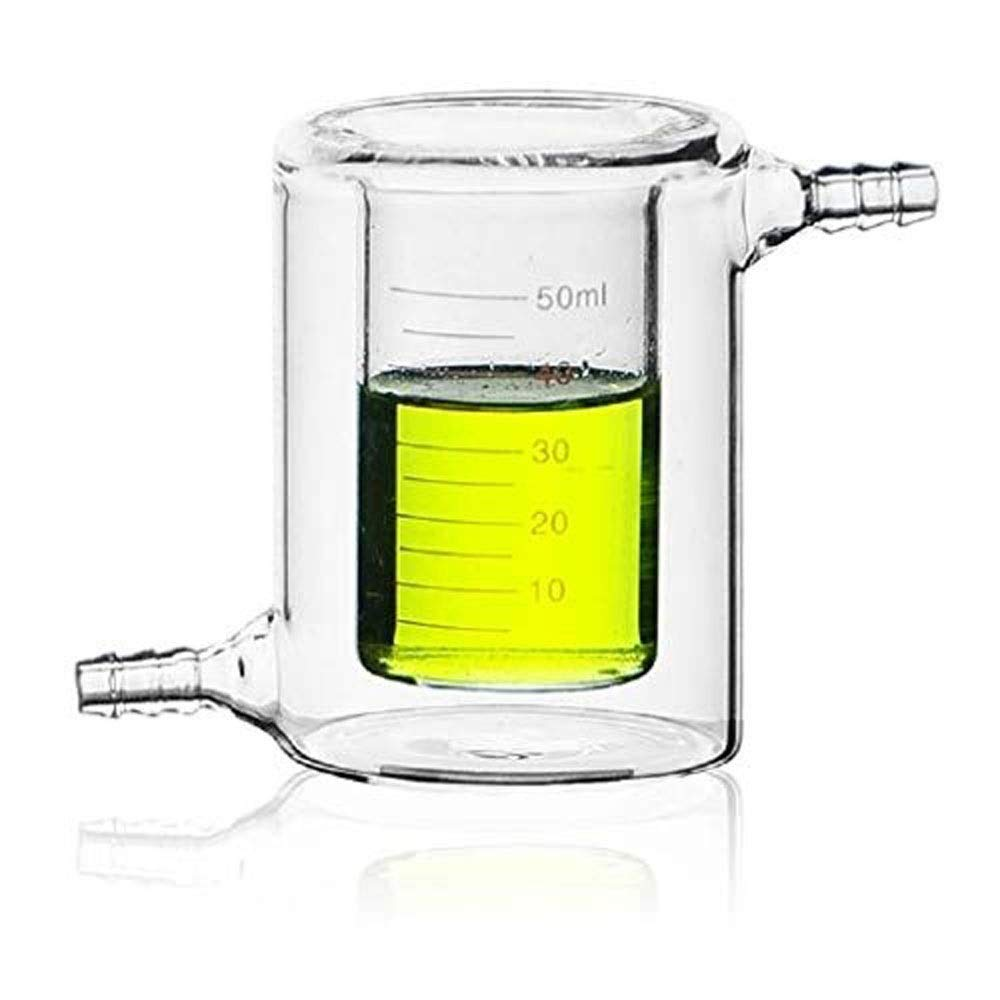 ⛵ SYYP/Glassware 50ml jacketed Glass Beaker Double-Layer high Temperature Resistant Glass Laboratory Transparent Beaker Y0501WM (Size : 500ml)