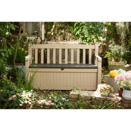 All Weather Patio Storage Bench, UV Protected, Lockable, Extra Space, Seats For Two People, Armrests, Backrest, Perfect for Garden, Backyard, Pool Area, Brown Color, Outdoor Furniture, BONUS E-book by Best Care LLC