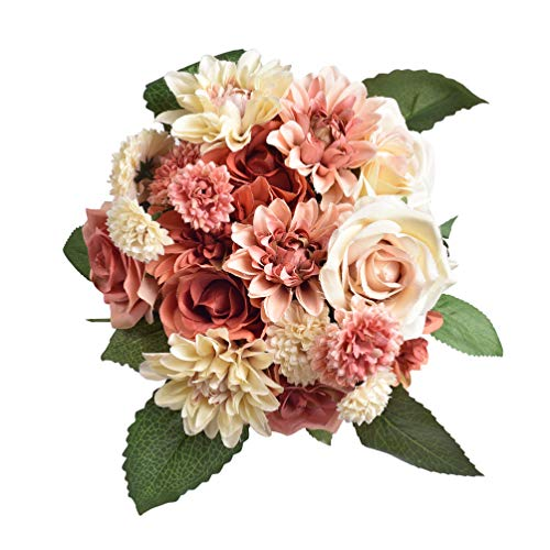 Daisy Rose Wedding Bouquet - Furnily Fake Flowers 2 Pack Silk Dahlia Flowers Wedding Bridal Bouquet Rose Artificial Flowers for Garden Party Home Decoration