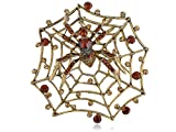Alilang Regal Topaz Brown Crystal Rhinestone Charlotte's Spinning Spider Web Pin Brooch