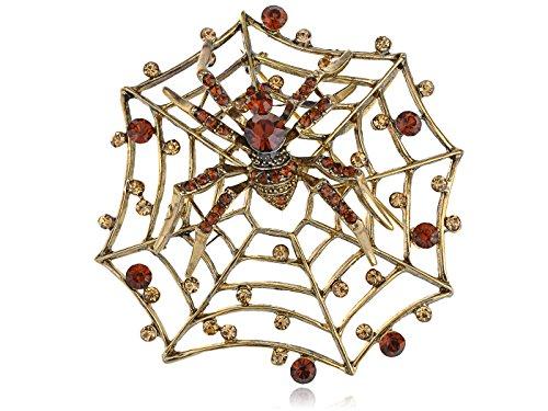 Alilang Golden Tone Topaz Rhinestone Charlotte's Spinning Spider Web Pin ()