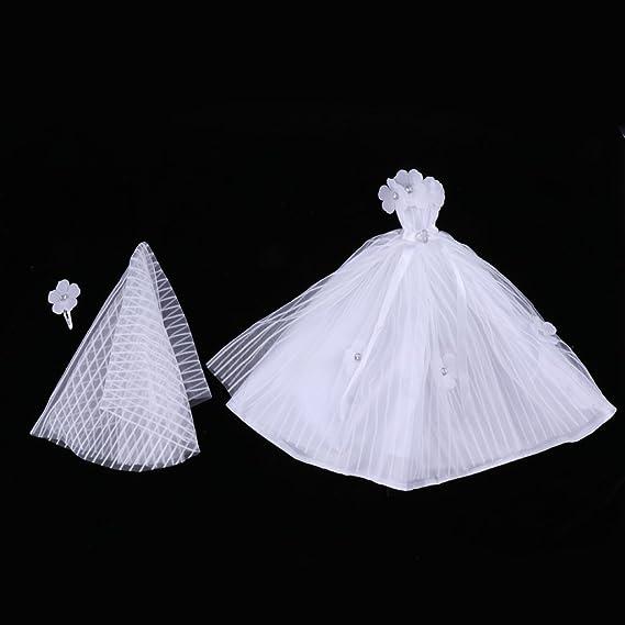 Amazon.es: Homyl Precioso Vestido de Novia de Noche de Manera con Velo para Muñecas Barbie - Blanco: Juguetes y juegos