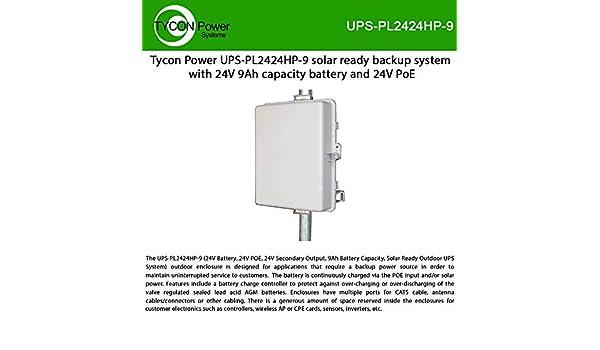 24V 8A PWM PoE Powered Chrg Ctrl w//Ld Ctrl 24V 30W Pasv PoE 24V 1.5A Aux Out 2-4 Pole//Wall Mt Lock Polycarb Encl UPSPro 24V 9Ah 216Wh Outdoor Backup Pwr Sys Incl 120//240VAC 36V90W Pasv PoE Ins