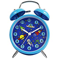 BLUE ASTROSPACE 4 Cute Loud Wake Up Alarm Clock for Kids Durable Twin Bell Non-Ticking SILENT Clocks with NightLight
