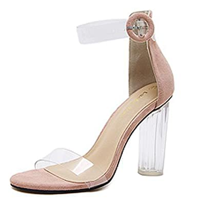 SHOWHOW Damen Offene Zehe Transparent Stiletto Sandale mit Knöchelriemchen Rosa 35 EU a0kbV4Y