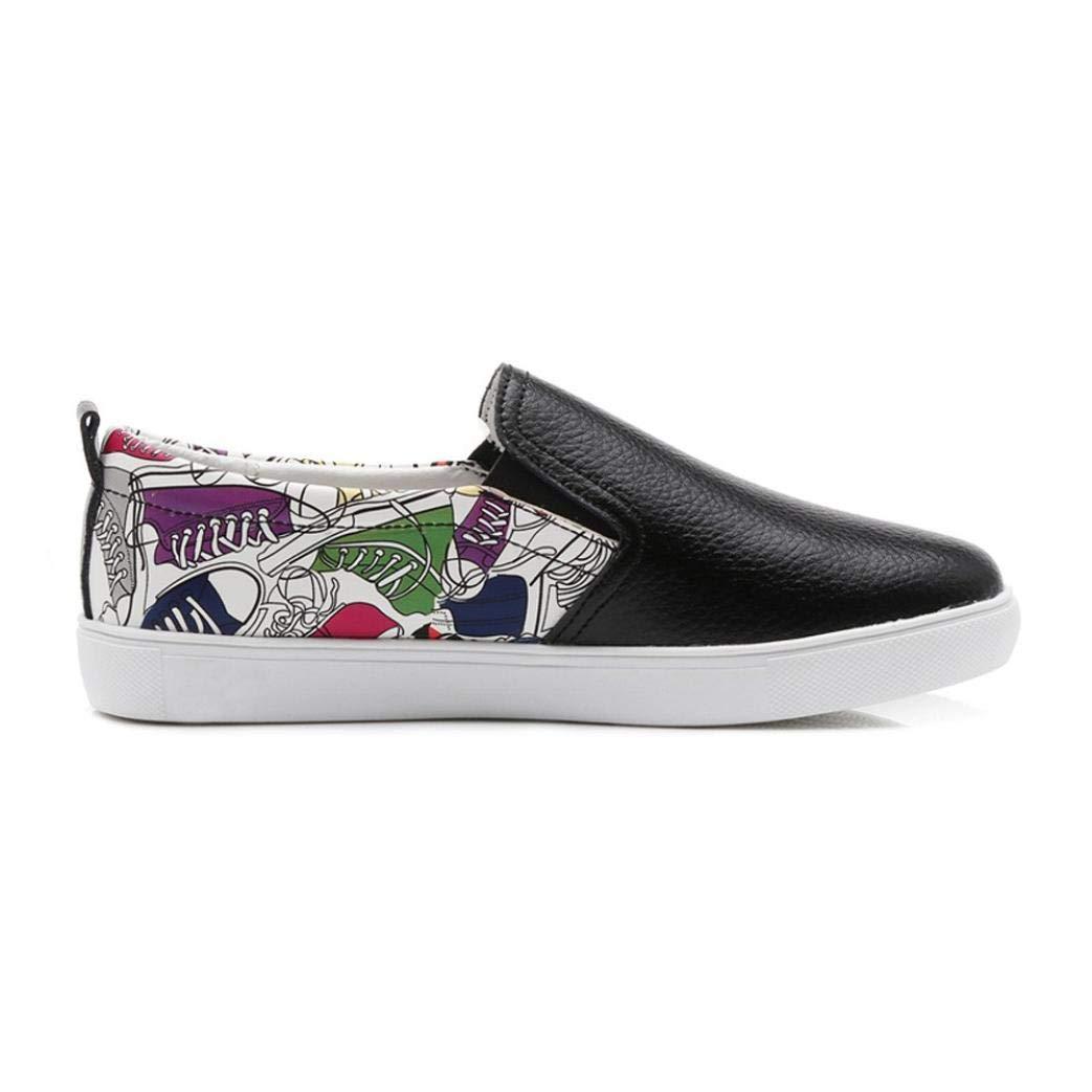 UOKNICE Women Fashion Graffiti Flats Shoes Slip On Lazy Shoes Loafer Leisure Comfortable Shoes