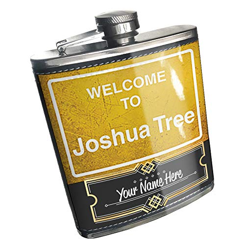 Neonblond Flask Yellow Road Sign Welcome To Joshua Tree Custom Name Stainless Steel