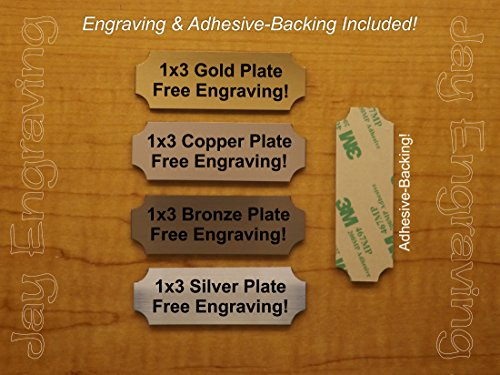 Custom Engraved 1x3 Brushed Metal Finish Plate | Name Tag Sign | ID Badge with Adhesive | Engraving Trophy Plaque Urn Keepsake Loving Personalized Small Business Home Office Wall Door Plaque Placard
