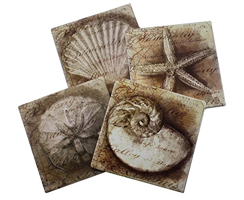 Nautical Ocean Beach Coaster Set of 4 | Assorted Seaside Ceramic Coaster with Cork Backing | Starfish Seashell Sand Dollar and Snail Shell