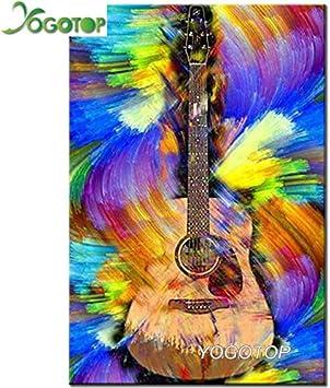 FHGFB 5D DIY Diamante Pintura Bordado Costura Mosaico Regalo Abstracto Guitarra Decoración Familiar Regalo Mural Diamante Redondo Sin Marco -35x50cm